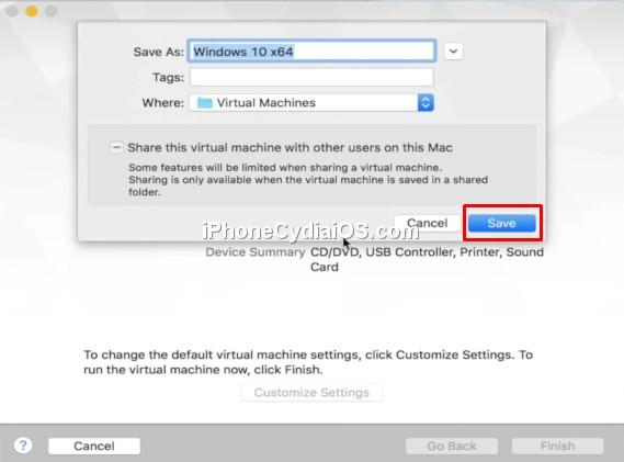 Customize Settings - Save