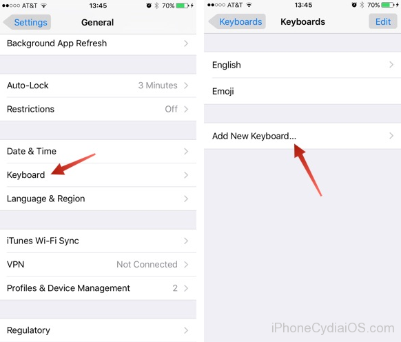 How to Add a Keyboard on iOS 9