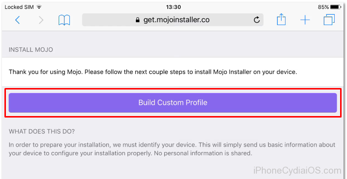 Install Mojo Installer iOS 9 - Build Custom Profile 1