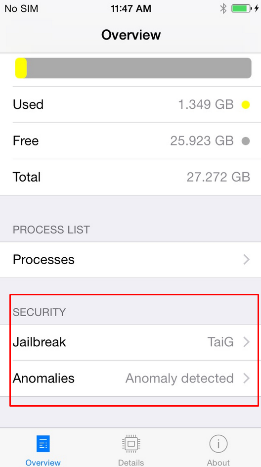 System and Security Info iOS Application - jailbreak and anomalies