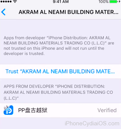 Jailbreak iOS 9.3.3 - trust profile