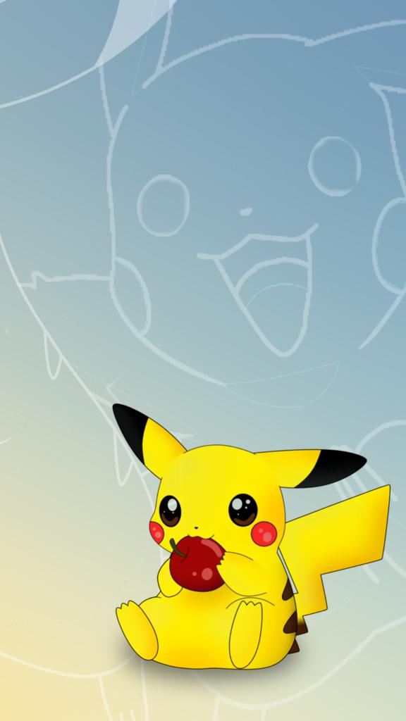 Pokemon Go Wallpapers Pikachu eating Apple